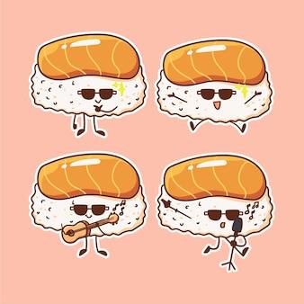 Personaje de sushi lindo y kawaii