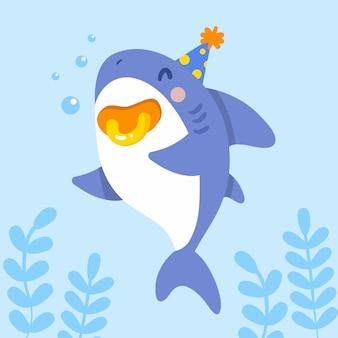 Personaje de tiburón bebé de diseño plano