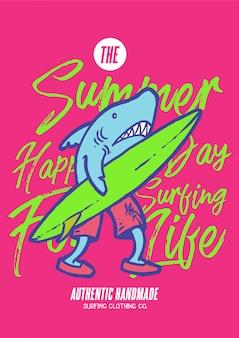 Un personaje de tiburón caminando con surfboad y listo para navegar en el océano en el día de verano en la ilustración vectorial de los años 80.
