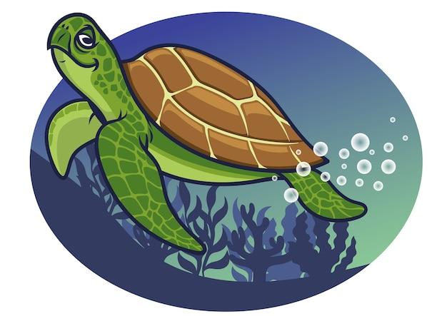 Personaje de tortuga de dibujos animados