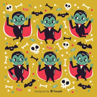 Personaje de vampiro plano con colección de capa
