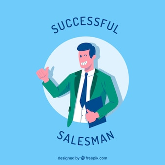 Personaje de vendedor con diseño plano sujetando contrato