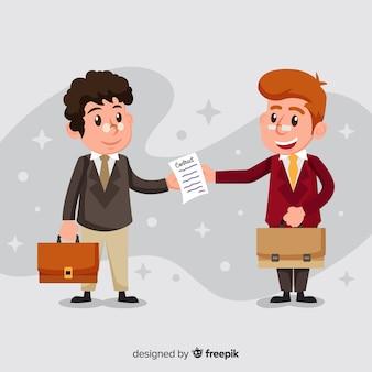 Personaje de vendedor sonriente sosteniendo contrato