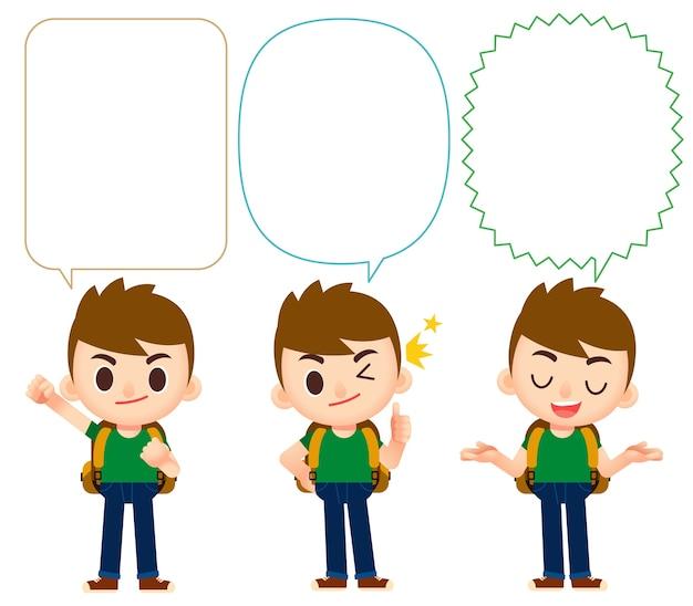 Personaje de viajero en diferentes acciones con globos de diálogo