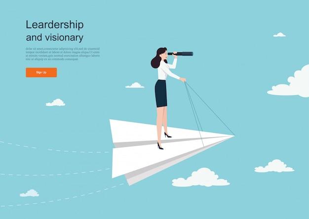Personaje volando en avión de papel. concepto de negocio de la visión. plantilla de fondo