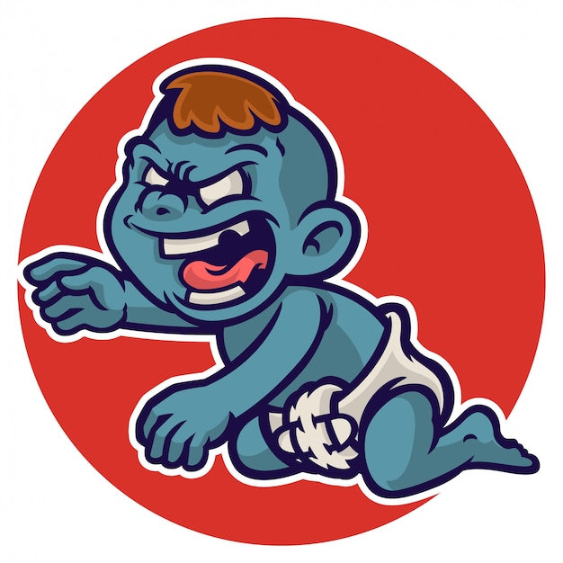 Personaje de zombie bebé de halloween con pañal