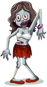 Personaje zombie sobre fondo blanco