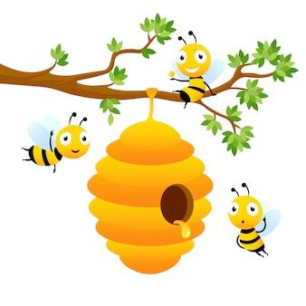 Personajes de abeja diseño de mascota de dibujos animados de vector aislado