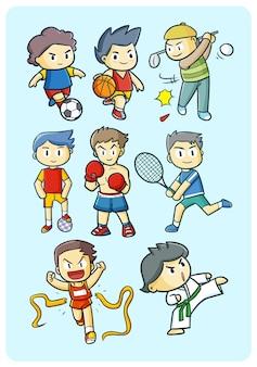 Personajes de actividades deportivas en estilo simple doodle