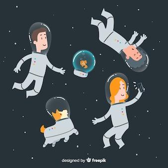 Personajes adorables de astronautas dibujados a mano