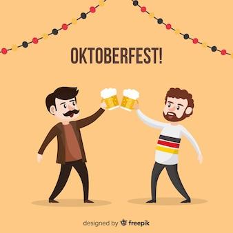 Personajes adorables celebrando el oktoberfest