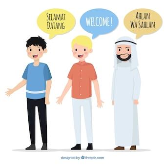 Personajes adorables de diseño plano hablando distintos idiomas