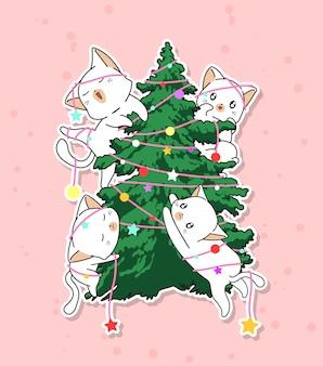 Personajes adorables del gato con un árbol de navidad