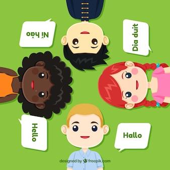 Personajes adorables hablando distintos idiomas