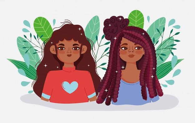 Personajes afroamericanos de mujeres jóvenes deja ilustración de vector de dibujos animados de naturaleza