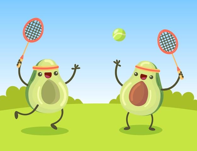 Personajes de aguacate de dibujos animados felices jugando al tenis en el césped. frutas lindas divirtiéndose juntos en la ilustración de verano