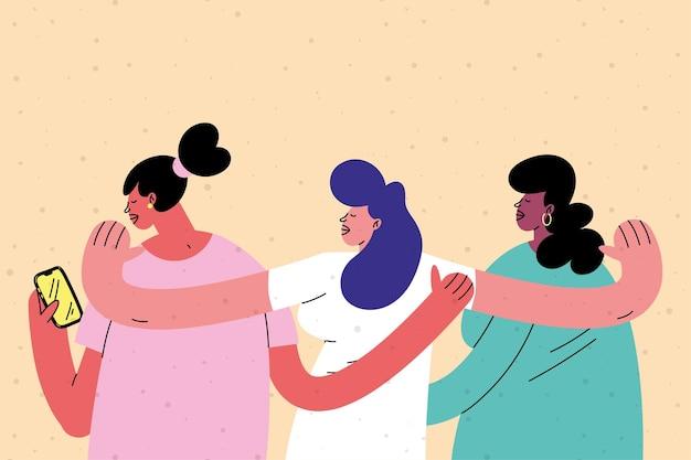 Personajes de amigos de mujeres jóvenes interraciales
