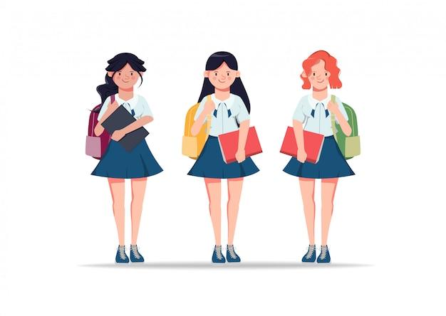 Personajes de animación de mujer joven en ropa de estudiante, amigos. ilustración de regreso a la escuela