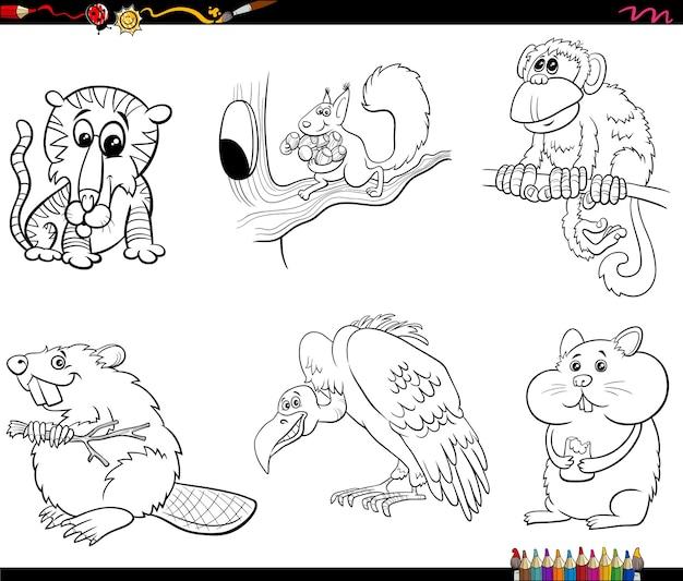 Personajes de animales de dibujos animados para colorear página del libro