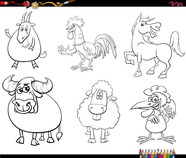 Personajes de animales de granja de dibujos animados establecer página de libro para colorear