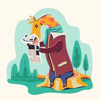 Personajes animales leyendo periódico vector ilustración. jirafa bookworm.