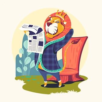 Personajes animales leyendo periódico vector ilustración. ratón de biblioteca del león