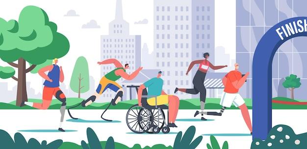 Los personajes de atletas discapacitados corren un maratón de la ciudad, deportistas y deportistas en silla de ruedas o prótesis de pierna biónica trotando, hombres o mujeres jóvenes amputados corriendo al aire libre. ilustración de vector de gente de dibujos animados