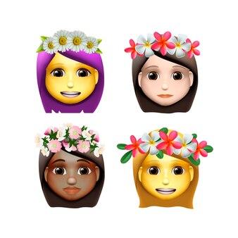 Personajes avatares de chicas con flor en la cabeza en estilo de dibujos animados, iconos emoji, animoji, concepto de verano, emoji con corona de flores en la cabeza, ilustración.