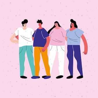 Personajes de avatares de grupo de amigos interraciales