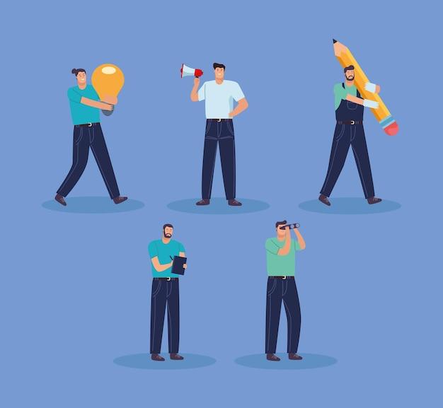 Personajes de avatares de trabajadores de hombres de negocios