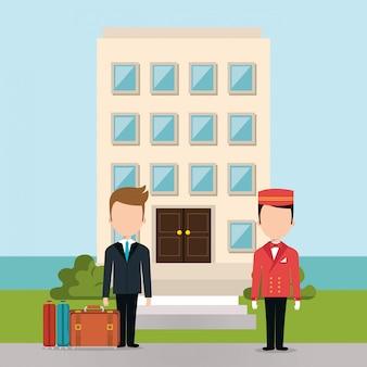 Personajes de avatares de trabajadores del hotel