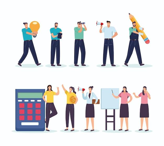 Personajes de avatares de trabajadores de personas de negocios