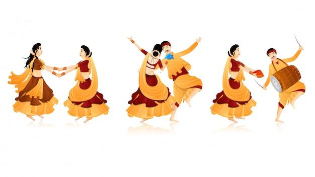 Personajes de baile indios.