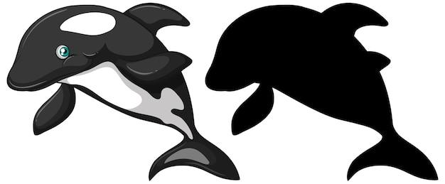 Personajes de ballena asesina y su silueta sobre fondo blanco.