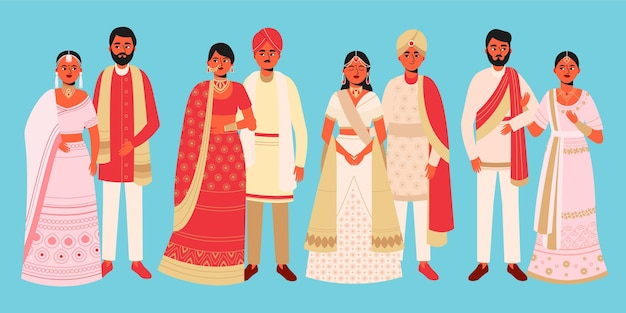Personajes de boda india