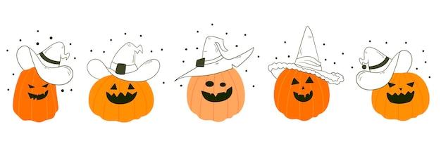 Personajes de calabaza de dibujos animados lindo. calabaza. feliz halloween. tarjeta de vector con calabazas.
