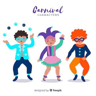 Personajes carnaval dibujados a mano