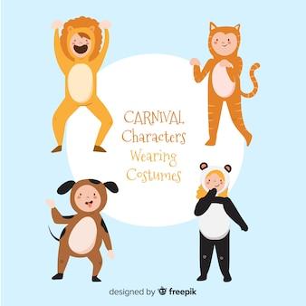 Personajes carnaval disfrazados dibujados a mano