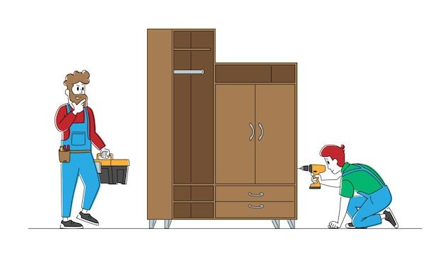 Personajes de carpintero trabajador con herramientas montaje de armario doméstico con taladro eléctrico