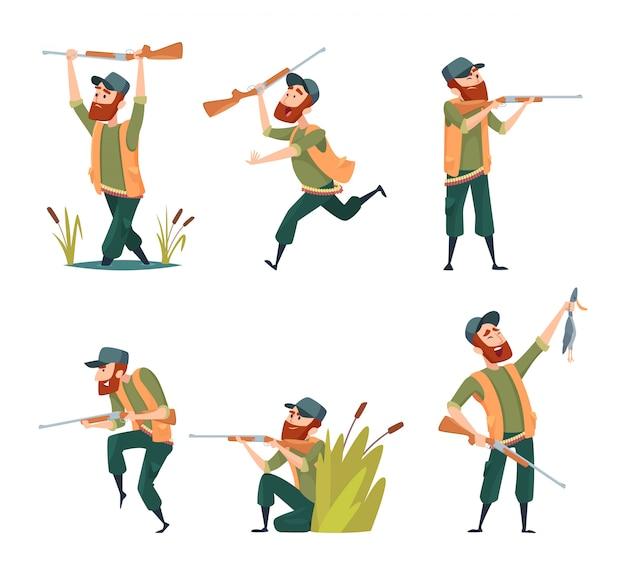 Personajes de cazadores aislados