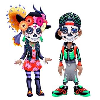 Personajes celebrando el halloween mexicano llamado los dias de los muertos