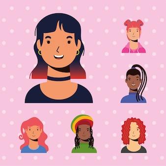Personajes de chicas femeninas e interaciales de mujer joven vector diseño de estilo plano