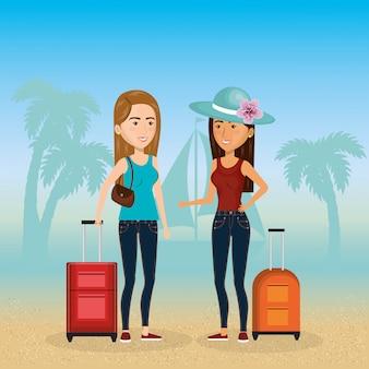 Personajes de chicas en la playa