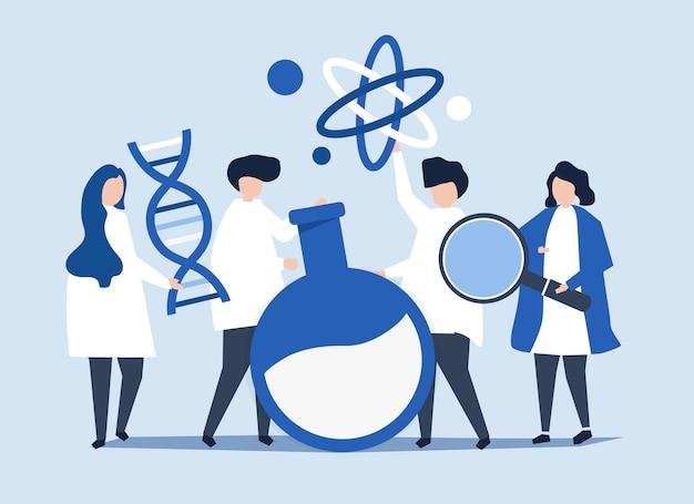 Personajes de científicos sosteniendo iconos de química.