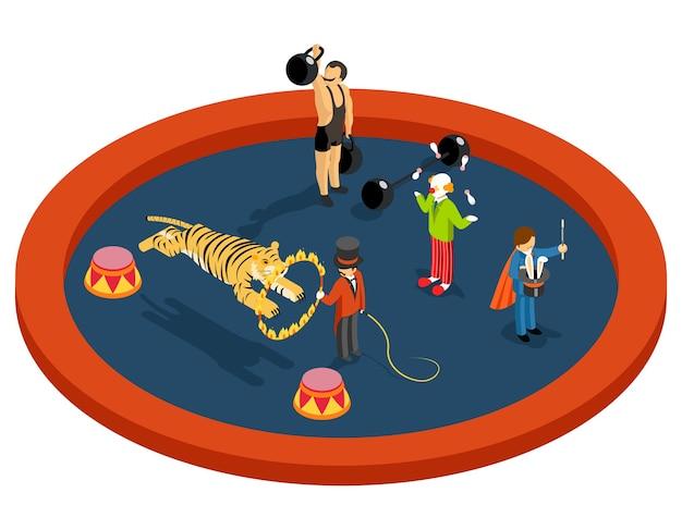 Personajes de circo 3d isométricos. entrenador de animales y atleta, mago y payaso, performance y magia, entretenimiento