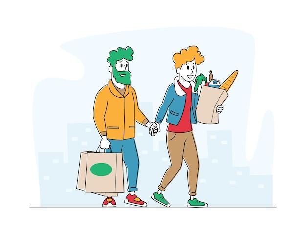 Personajes de clientes de hombre y mujer con bolsas de compras caminando desde la tienda comprando productos