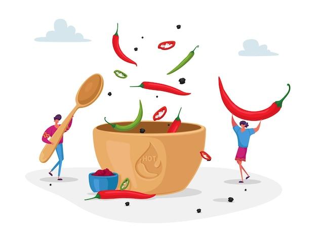 Personajes cocinan comida picante caliente