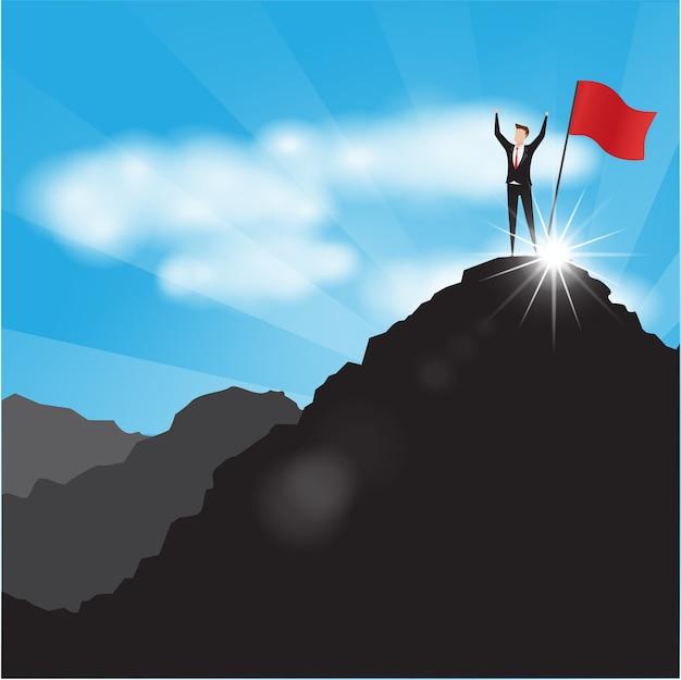 Personajes comerciales hombre de negocios con la bandera roja en la cima de la montaña.