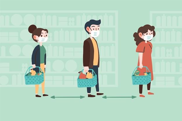 Personajes comprando con distancia segura