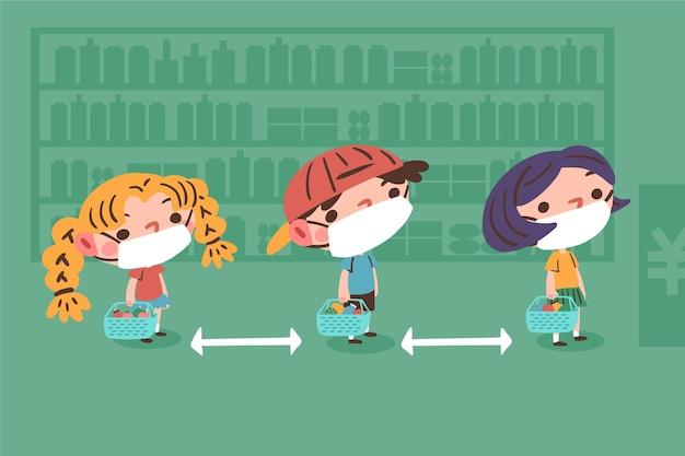 Personajes de compras con concepto de distancia segura.